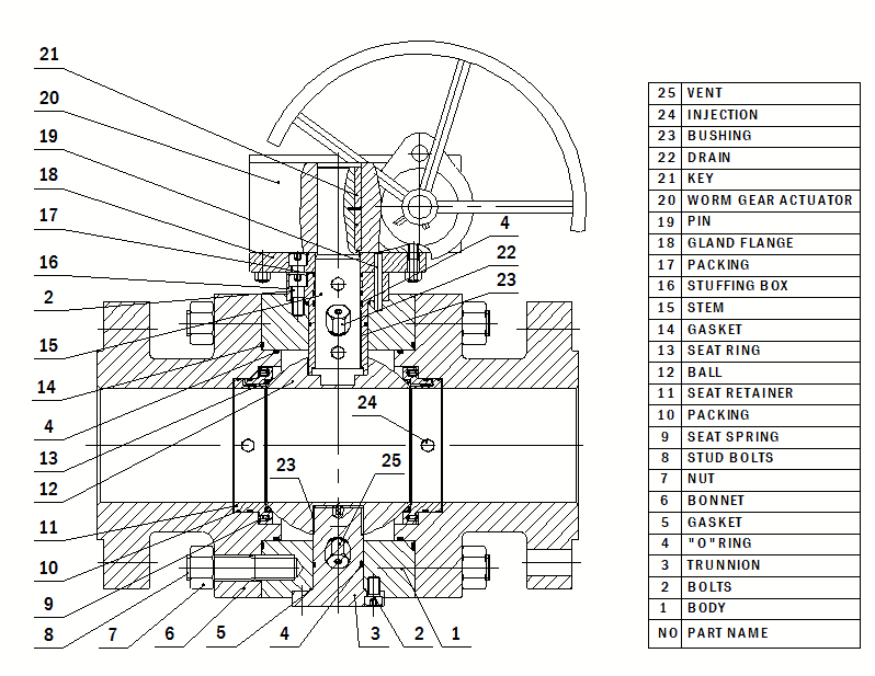 Trunnion mouonted ball valve