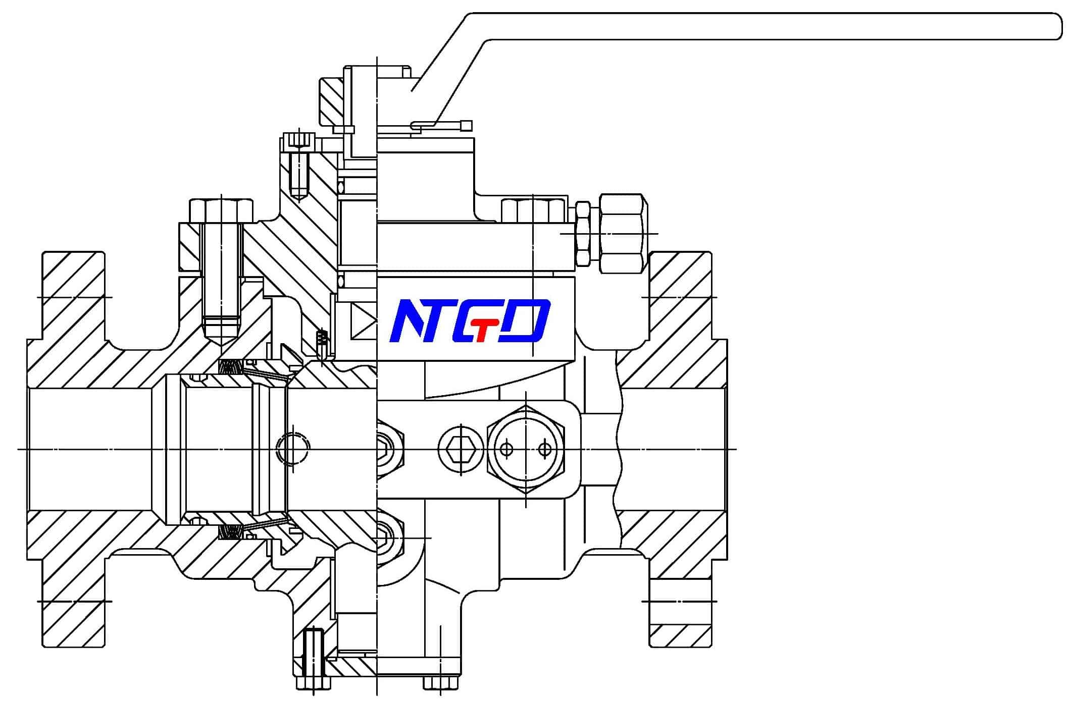 top entry trunnion ball valve drawing