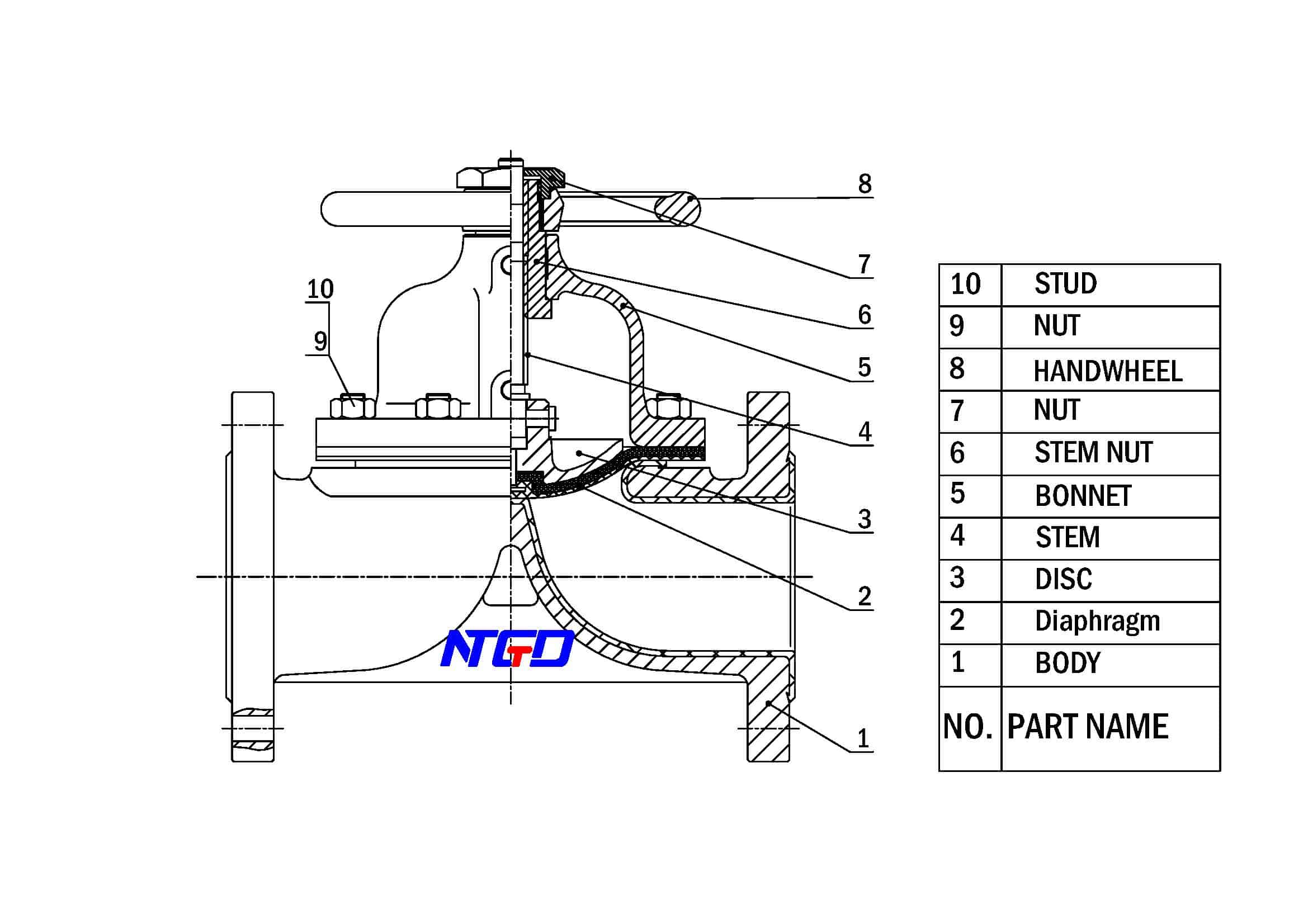 diaphragm valve drawing