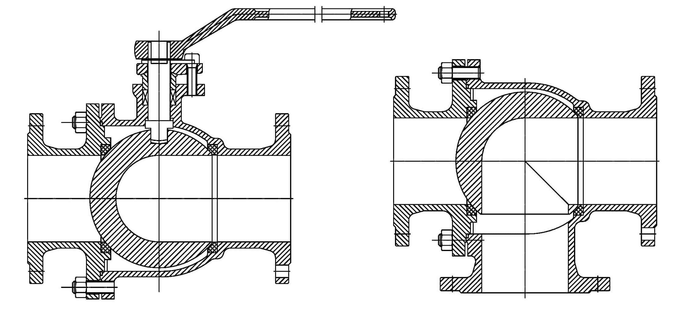 L type floating ball valve