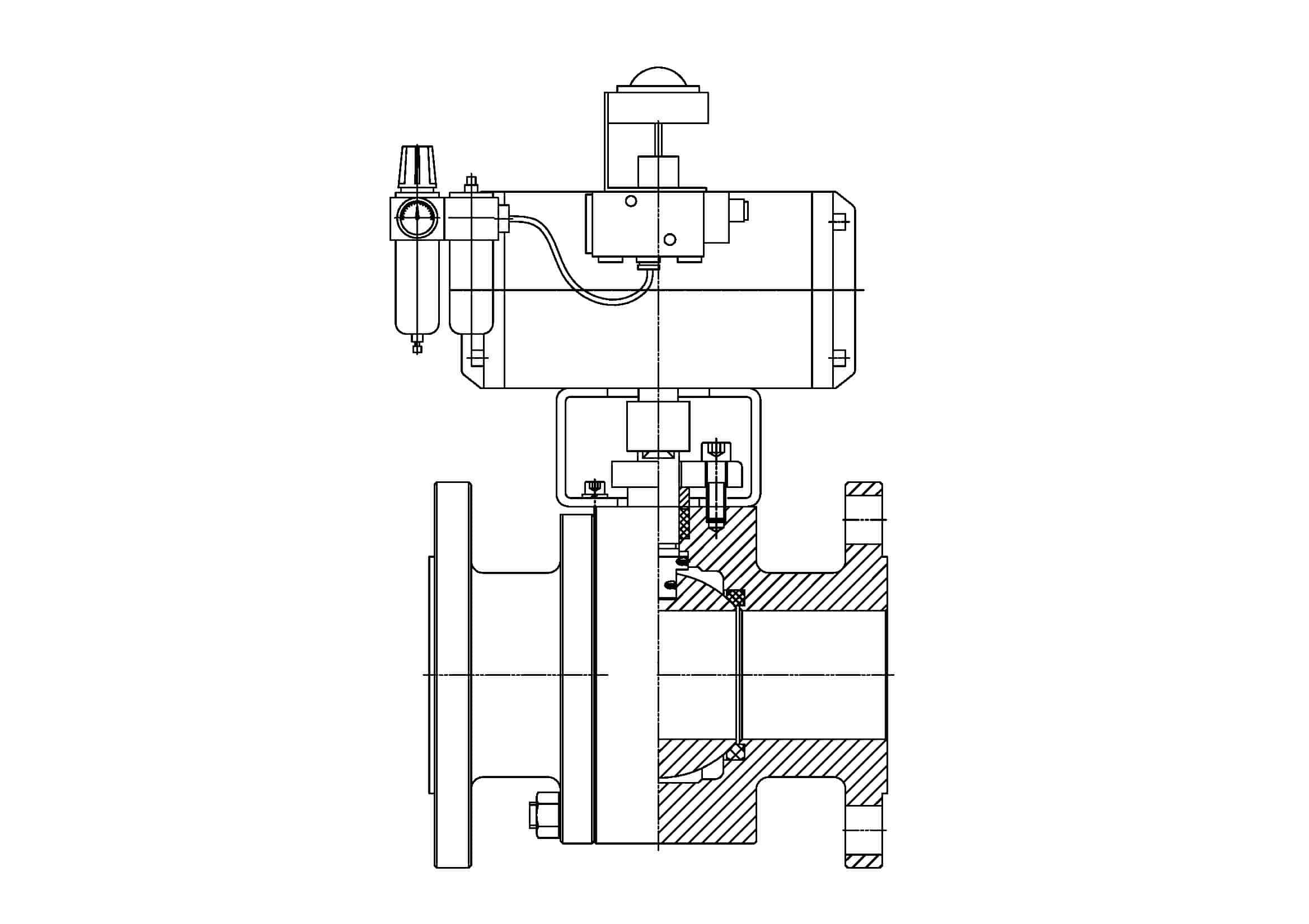 Pneumatic actuated ball valve