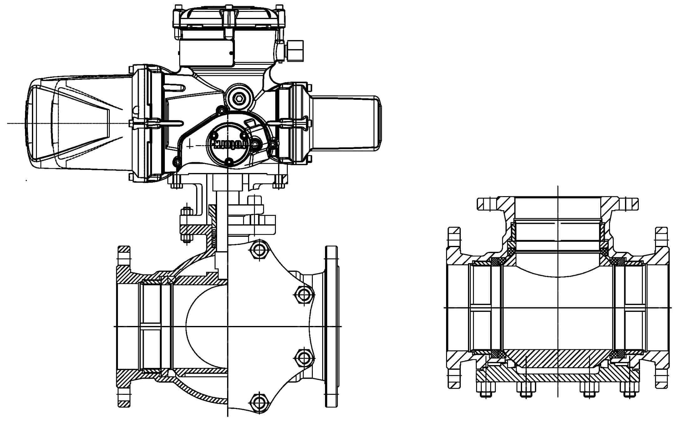 T type floating ball valve